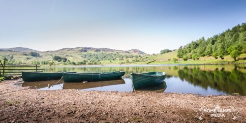 Watendlath Flat Calm Lake District May Landscape Photograph Panoramic Green Boats National Trust