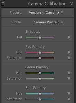 Adobe Lightroom Develop module Camera Calibration
