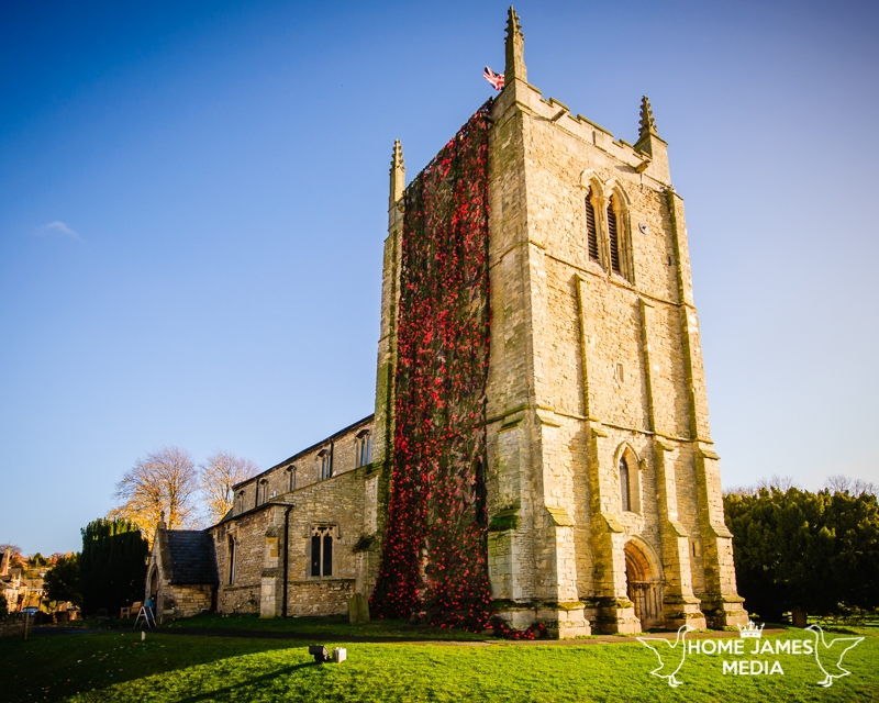 St Andrews Church Kirton in Lindsey with Poppy Cascade Remembrance Day 2018 view of the whole church