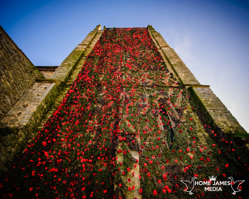 St Andrews Church Kirton in Lindsey with Poppy Cascade Remembrance Day 2018 Close up of the Bell Tower