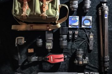 Flat Lay of Photography Gear used by Home James Media including sage green billingham bag, nikon camera equipment, slik and gitzo tripods and SRB Photographic Filters