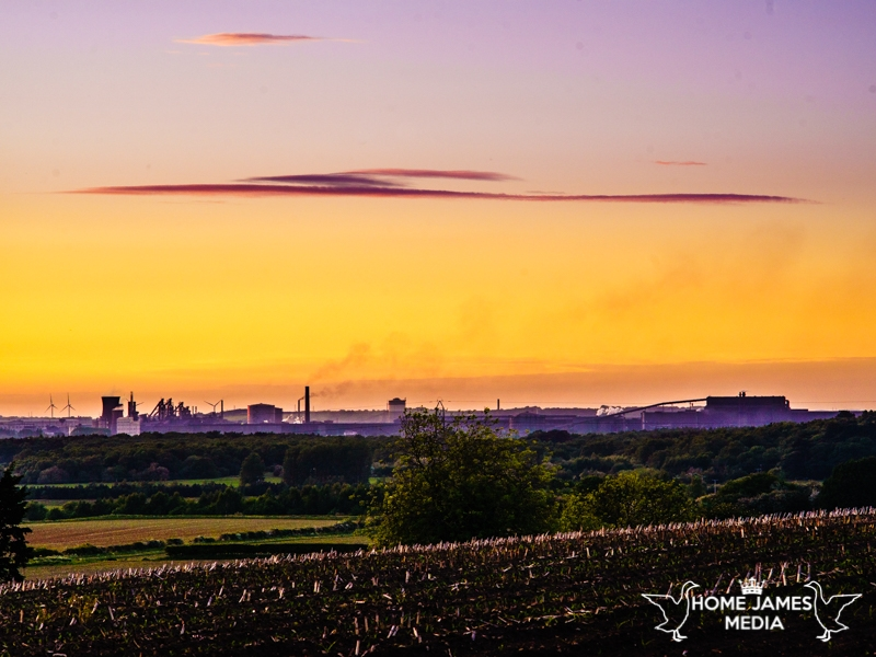 Sun setting over British Steel Scunthorpe