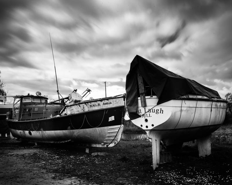 Vintage Scarborough Lifeboat at South Ferriby Black and White